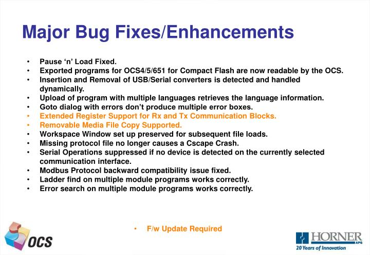 Major Bug Fixes/Enhancements