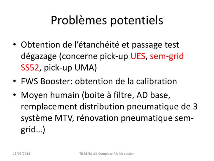 Problèmes potentiels