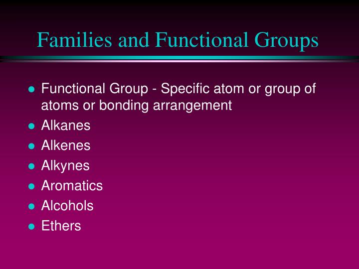 Families and Functional Groups