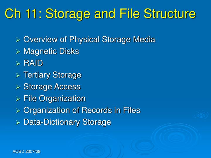 ch 11 storage and file structure