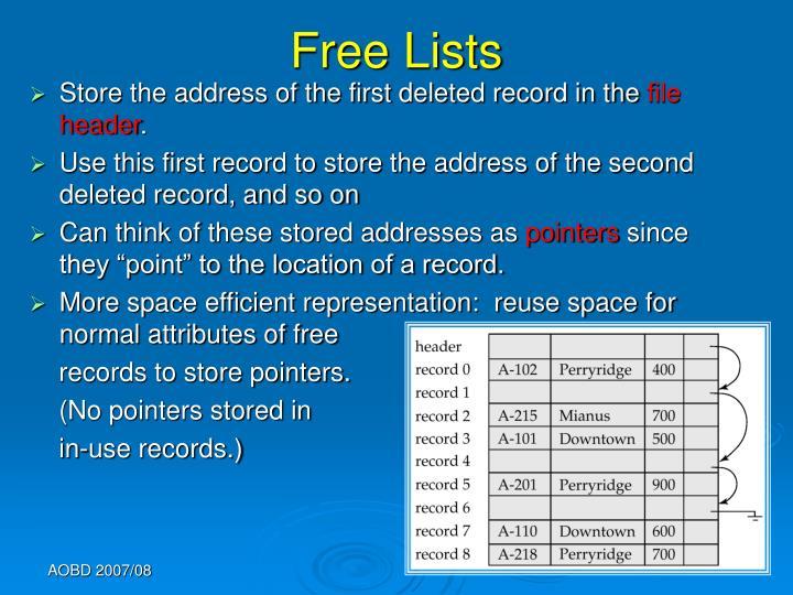 Free Lists