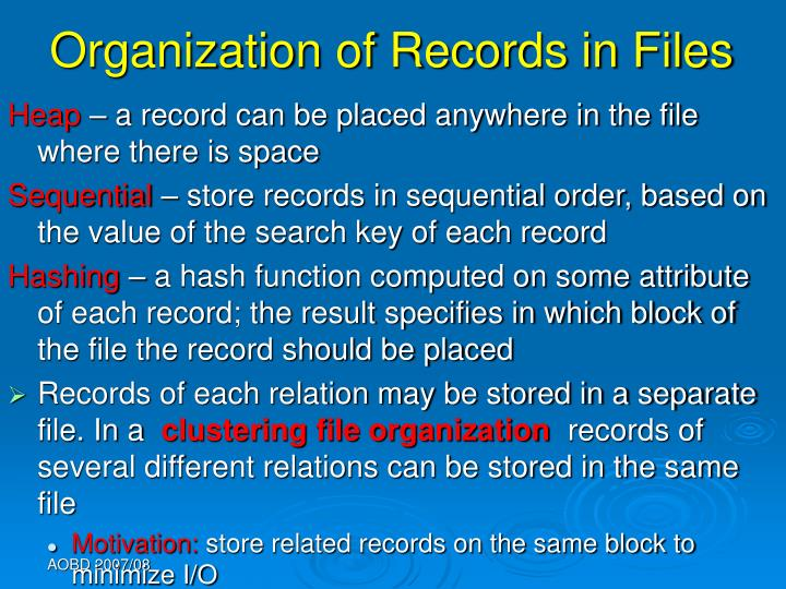 Organization of Records in Files