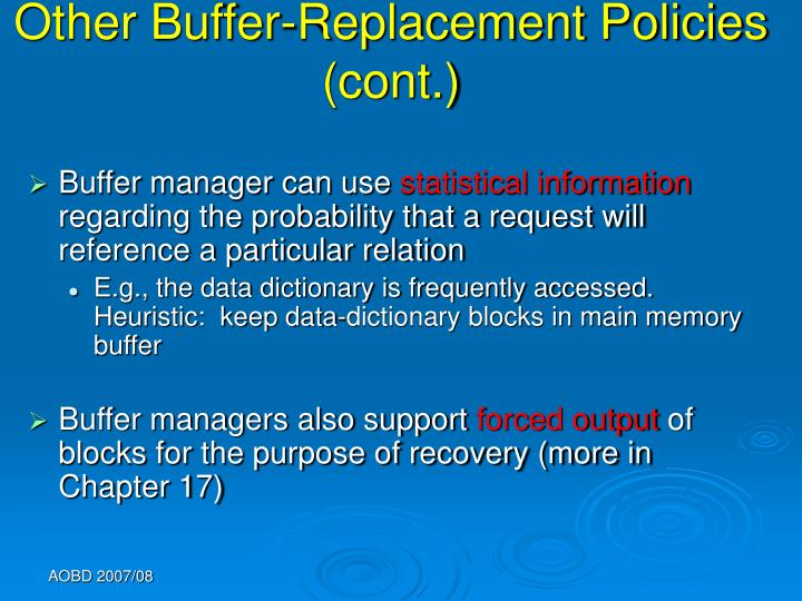 Other Buffer-Replacement Policies (cont.)