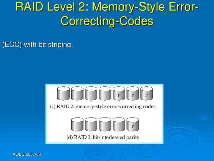 RAID Level 2: Memory-Style Error-Correcting-Codes