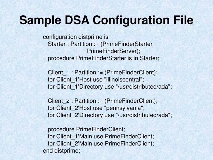Sample DSA Configuration File