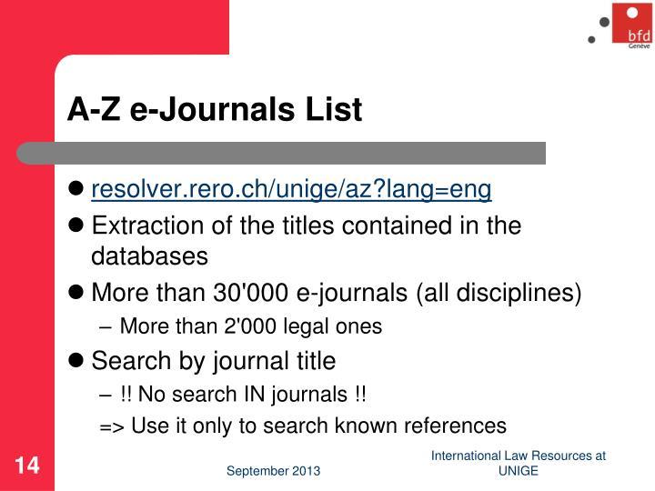 A-Z e-Journals List