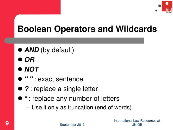 Boolean Operators and Wildcards