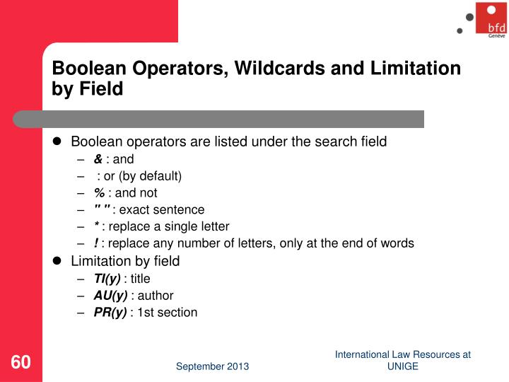 Boolean Operators, Wildcards and Limitation by Field