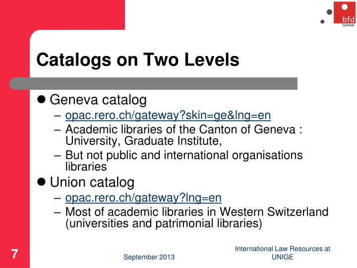 Catalogs on Two Levels