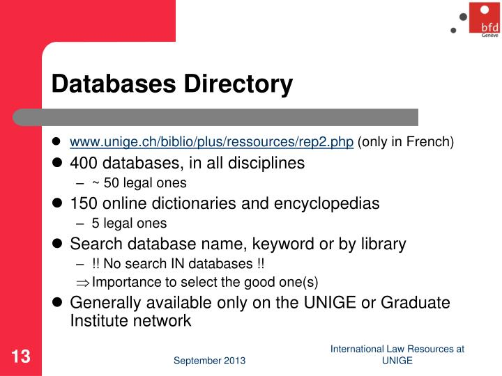 Databases Directory