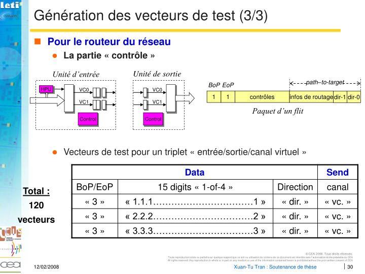 Génération des vecteurs de test (3/3)