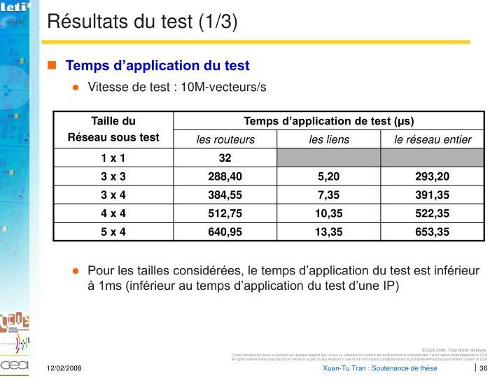 Résultats du test (1/3)