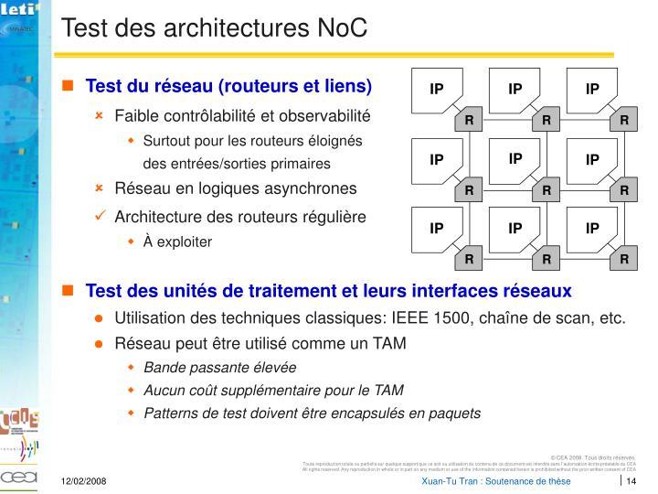 Test des architectures NoC