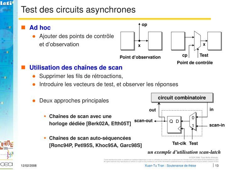 Test des circuits asynchrones