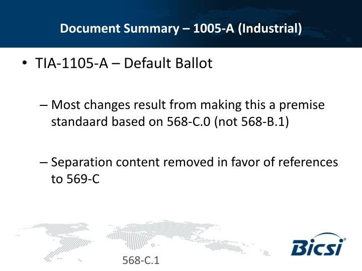 Document Summary – 1005-A (Industrial)