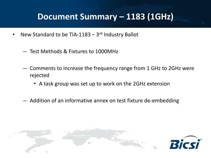 Document Summary – 1183 (1GHz)