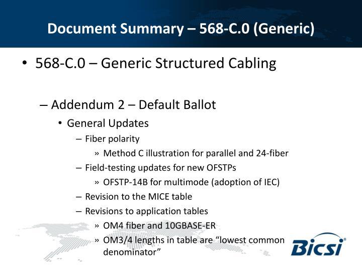 Document Summary – 568-C.0 (Generic)
