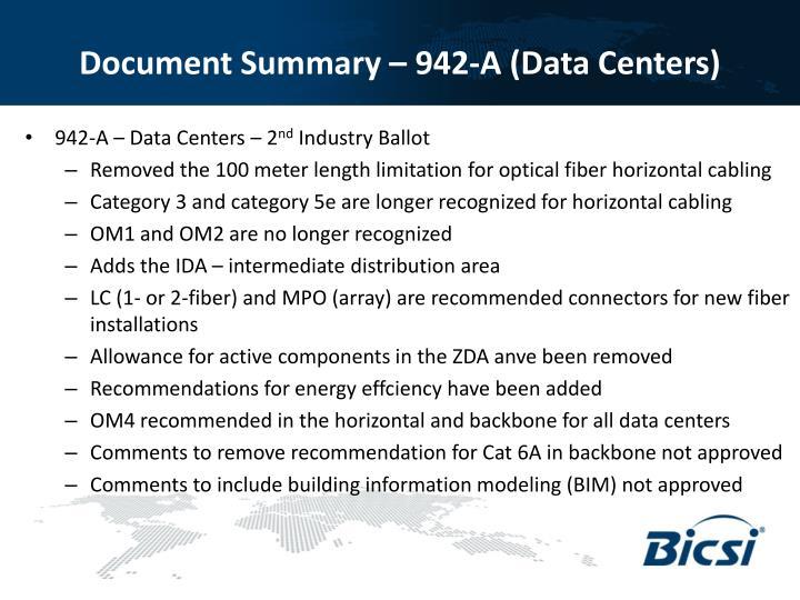 Document Summary – 942-A (Data Centers)