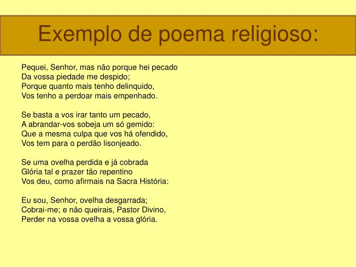 Exemplo de poema religioso: