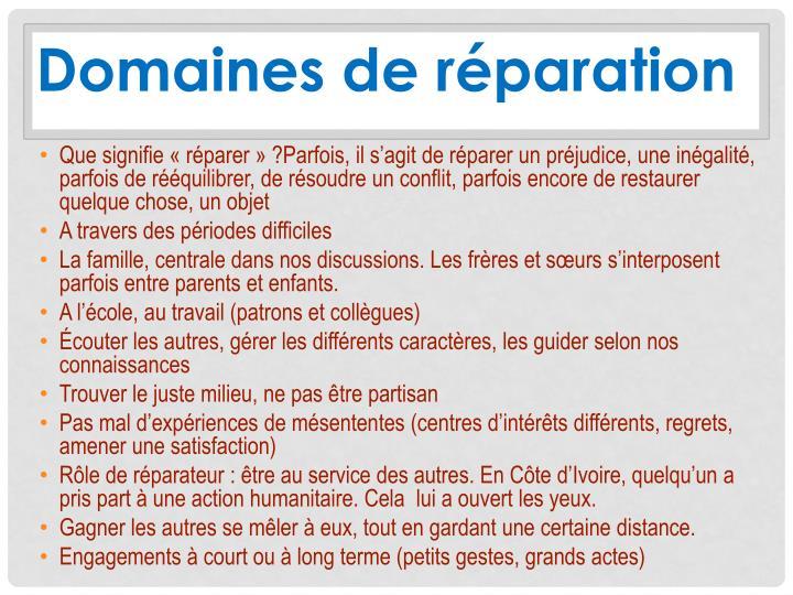 Domaines de réparation