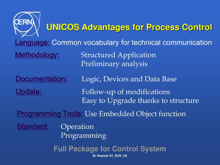 UNICOS Advantages for Process Control