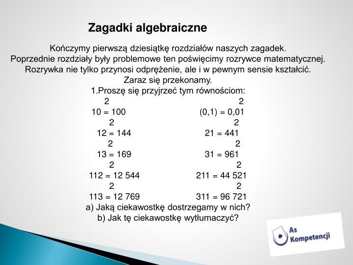 Zagadki algebraiczne