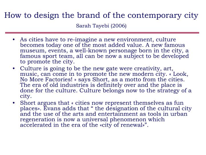 How to design the brand of the contemporary city