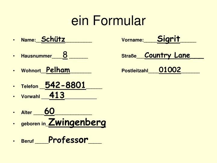 ein Formular