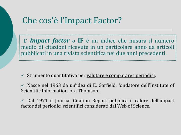 Che cos'è l'Impact Factor?