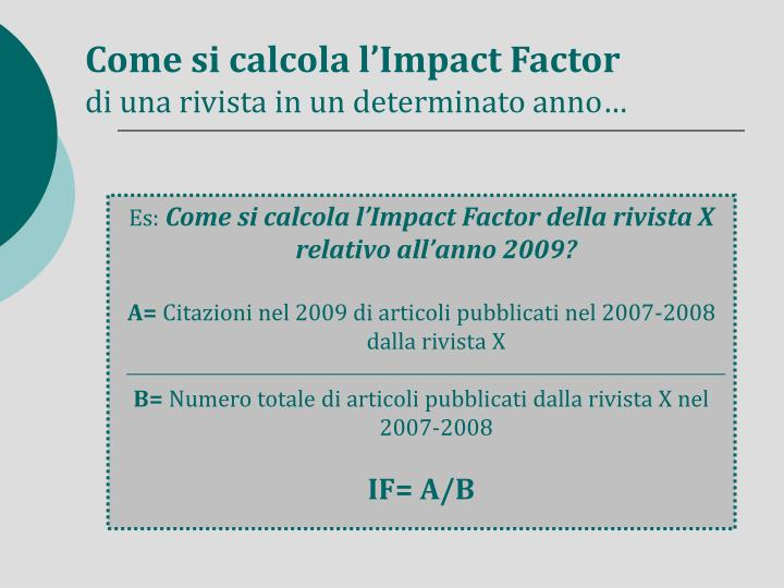 Come si calcola l'Impact Factor