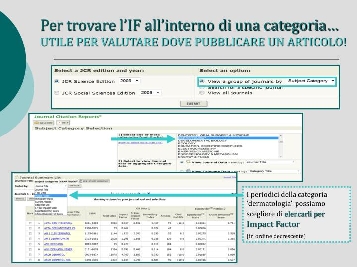 Per trovare l'IF all'interno di una categoria…