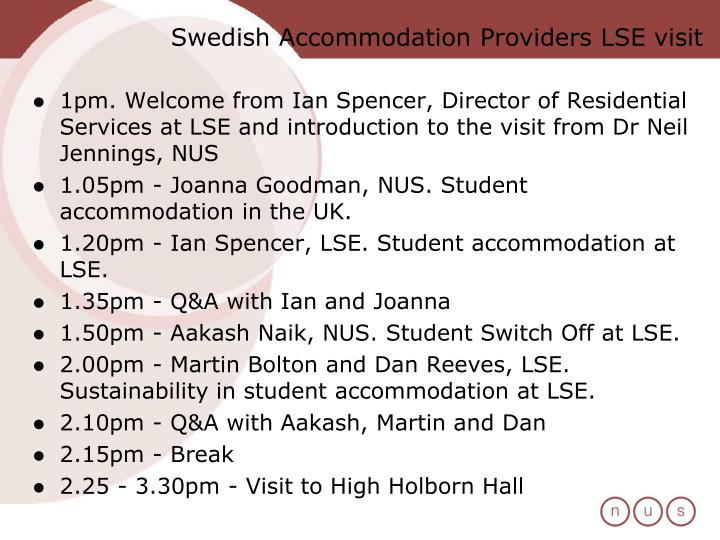 Swedish Accommodation Providers LSE visit