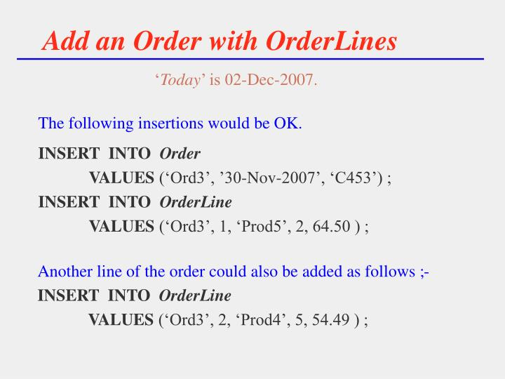 Add an Order with OrderLines