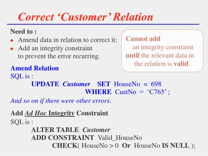 Correct 'Customer' Relation