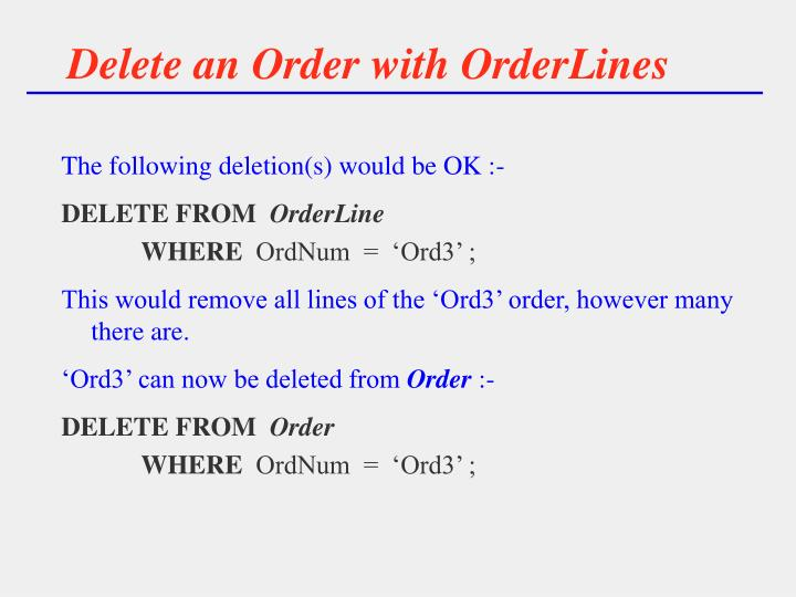 Delete an Order with OrderLines