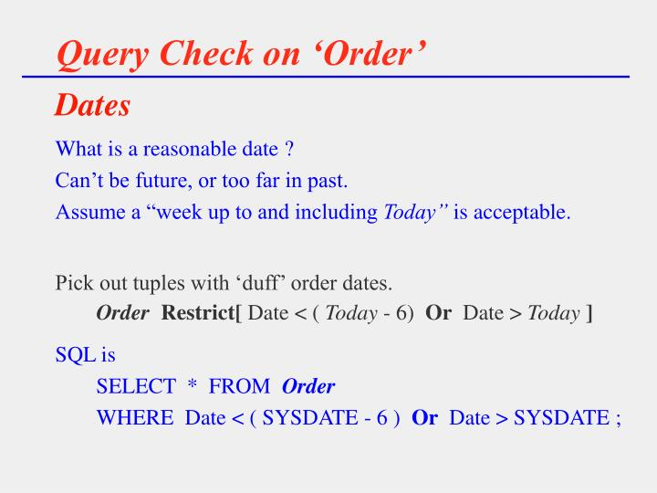 Query Check on 'Order'