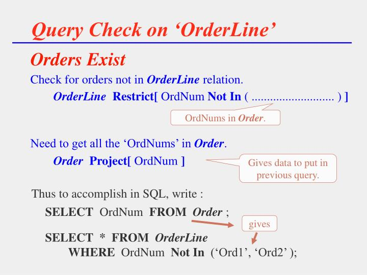 Query Check on 'OrderLine'