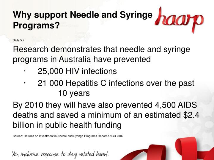 Why support Needle and Syringe Programs?