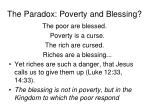 the paradox poverty and blessing