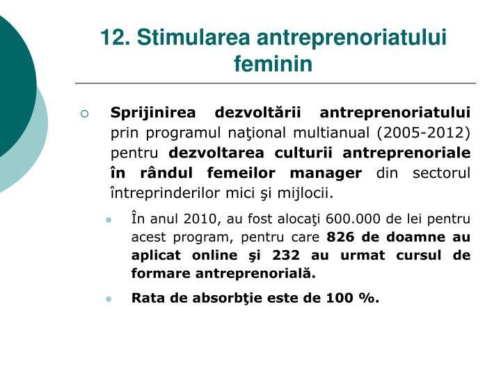 12. Stimularea antreprenoriatului feminin