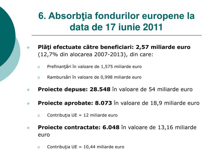 6. Absorbţia fondurilor europene la data de 1