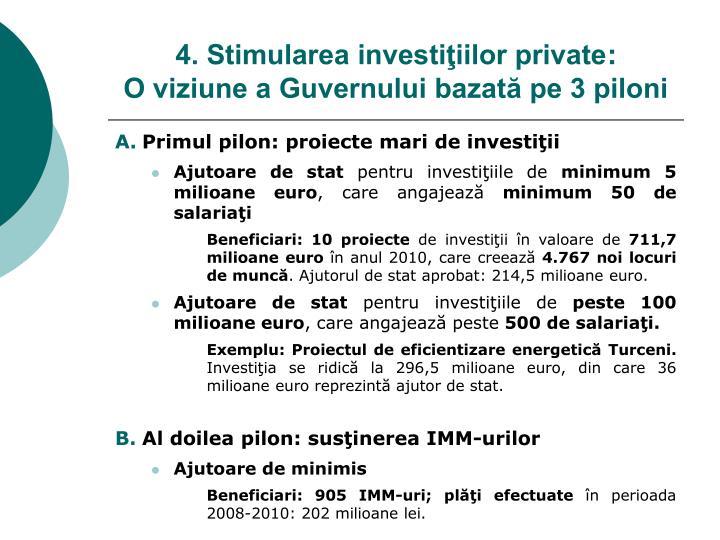 Primul pilon: proiecte mari de investiţii