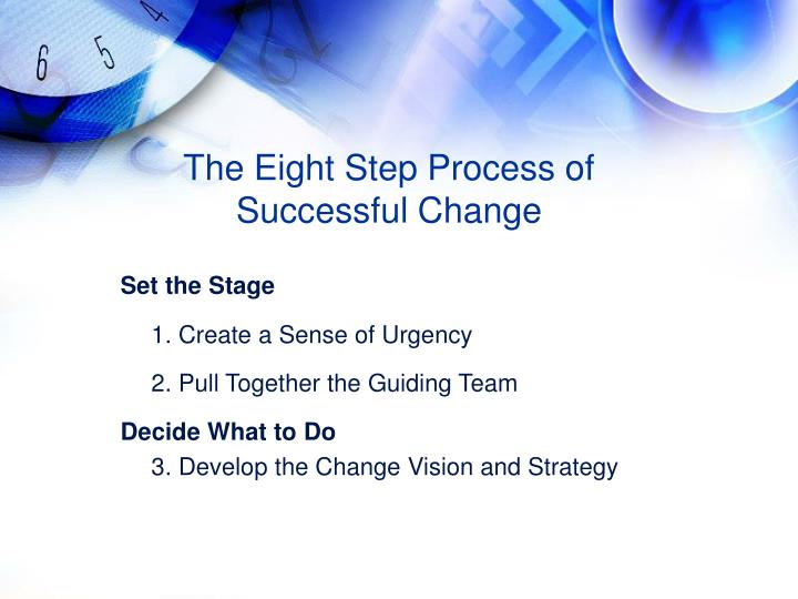 The Eight Step Process of Successful Change