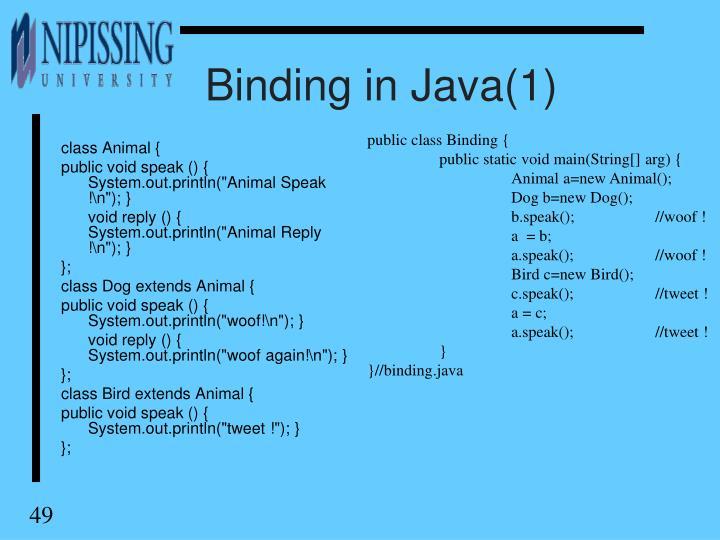 Binding in