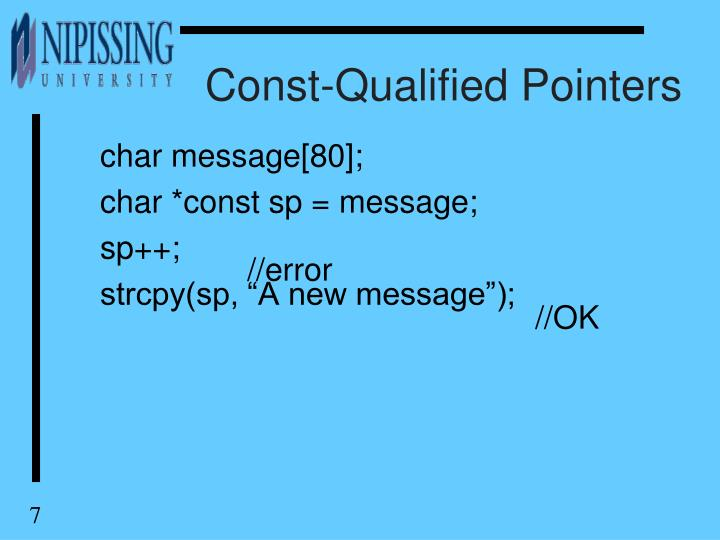 Const-Qualified Pointers