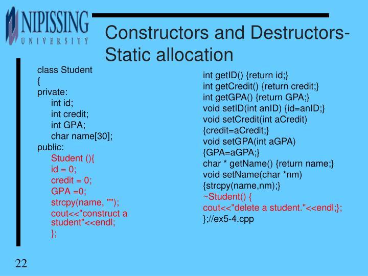 Constructors and Destructors-