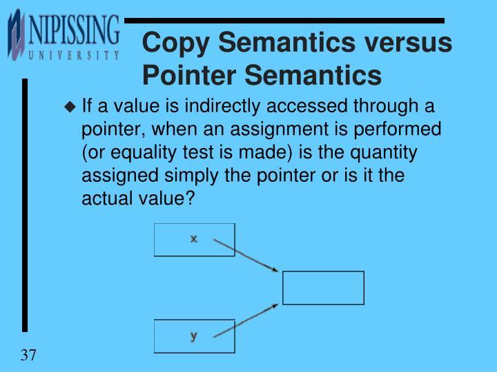 Copy Semantics versus Pointer Semantics