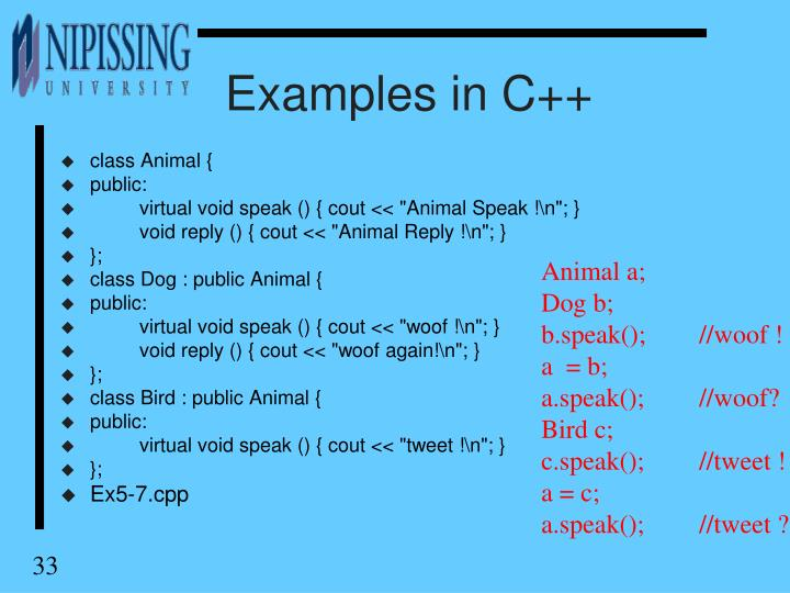 Examples in C++