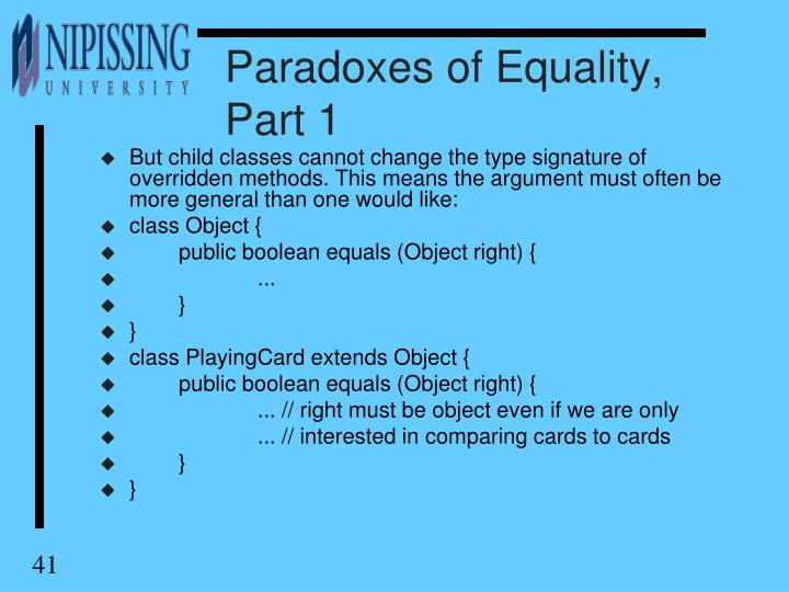 Paradoxes of Equality, Part 1