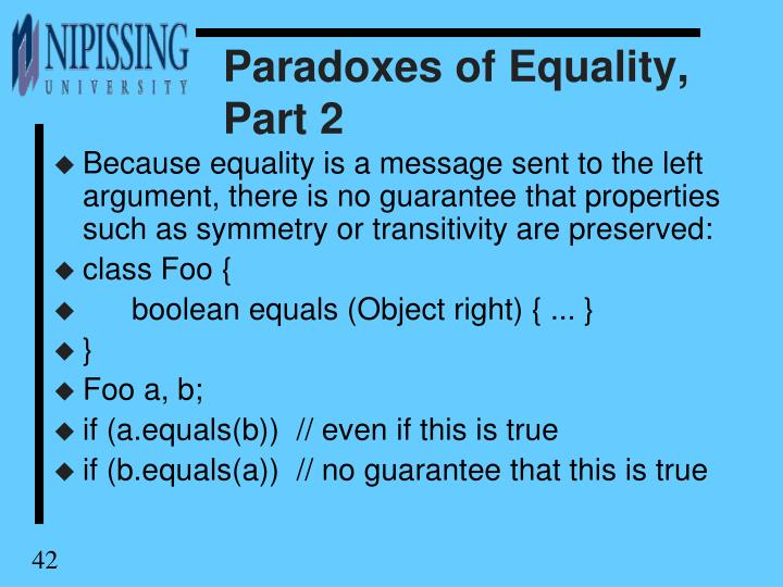 Paradoxes of Equality, Part 2